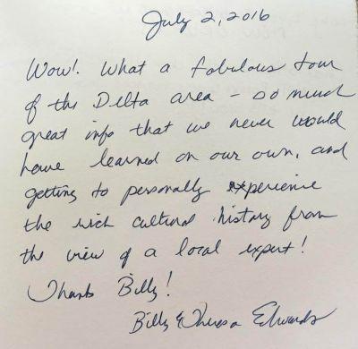 Handwritten Review from Billy